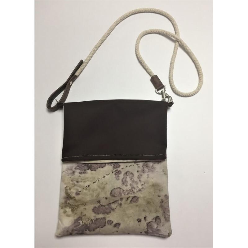 Női táska növényi nyomattal, kicsi, ecoprint