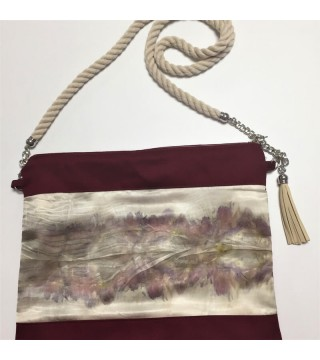 Női táska növényi nyomattal, selyem betéttel,bordó, ecoprint