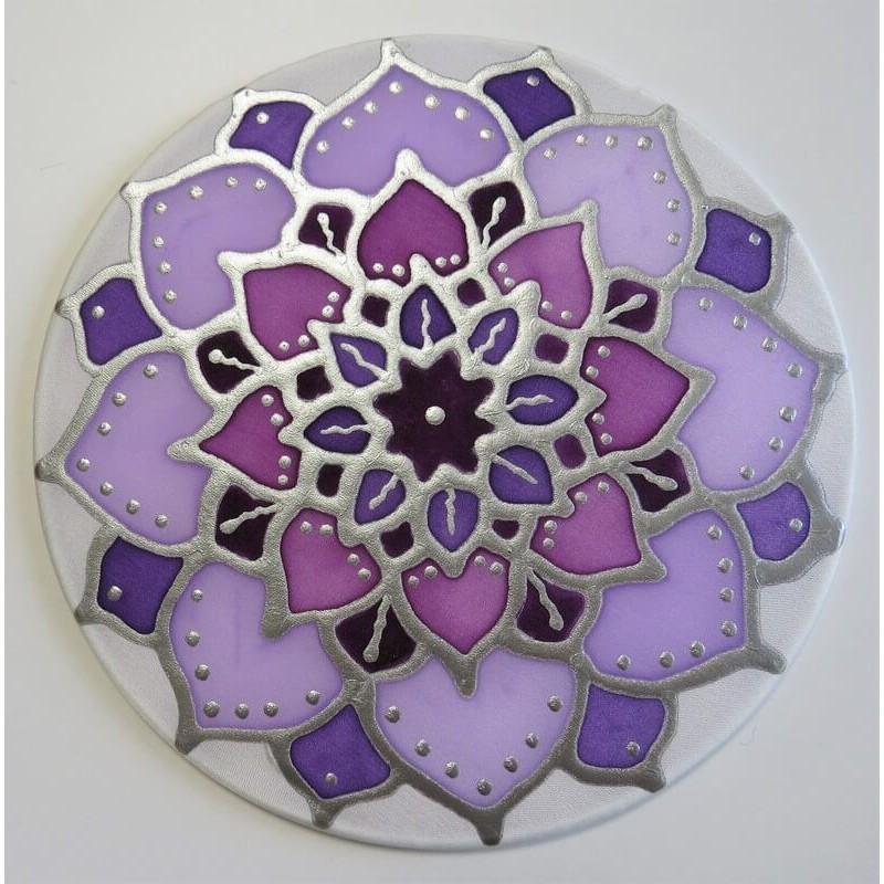 Selyem ablakkép - korona csakra mandala, 15 cm