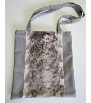 Világosszürke szatyor, levél nyomatokkal, ecoprint