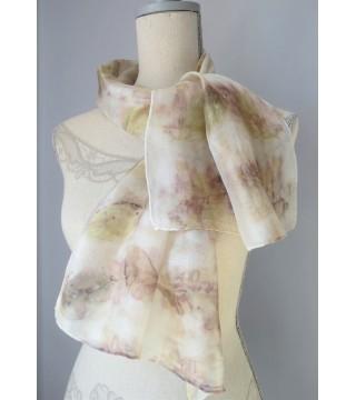 Borbolya és bangita nyomatos selyemsál, ecoprint