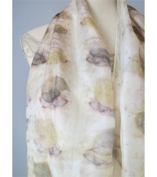 Bangita levél nyomatos selyemsál, ecoprint
