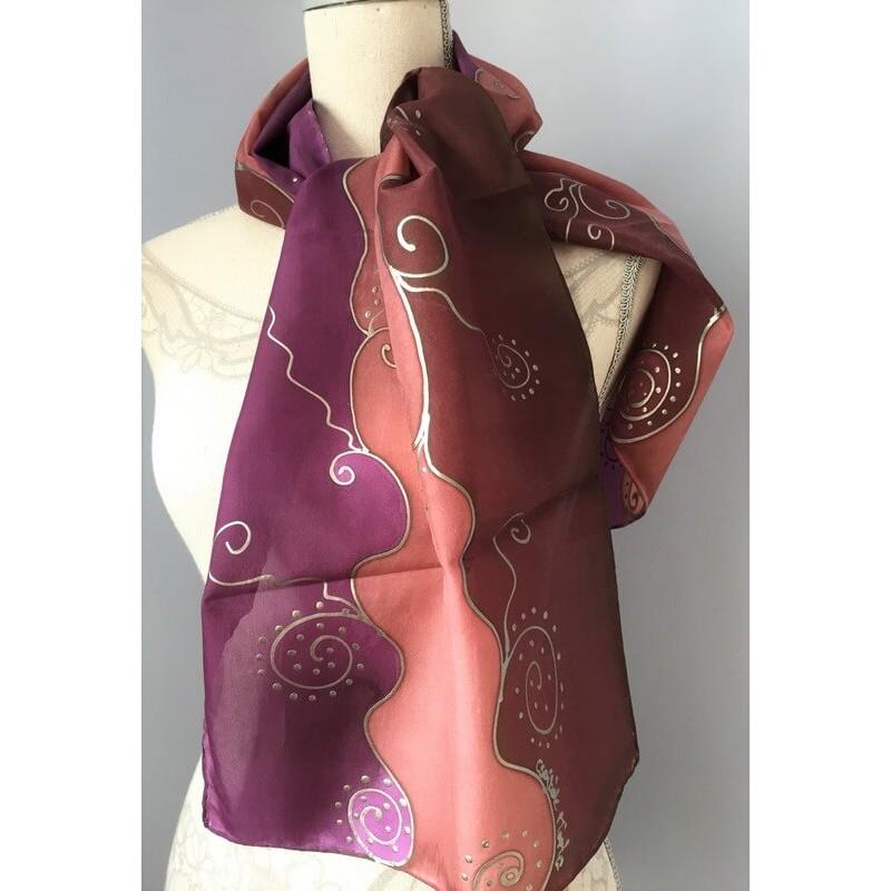 Barnás-lilás árnyalatú selyemsál