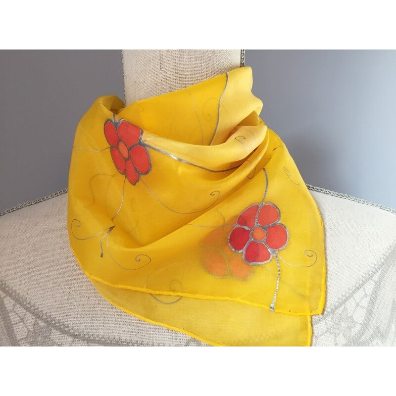 Selyemkendő sárga, virágos, kicsi