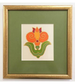 Selyemkép-stilizált tulipán motívummal
