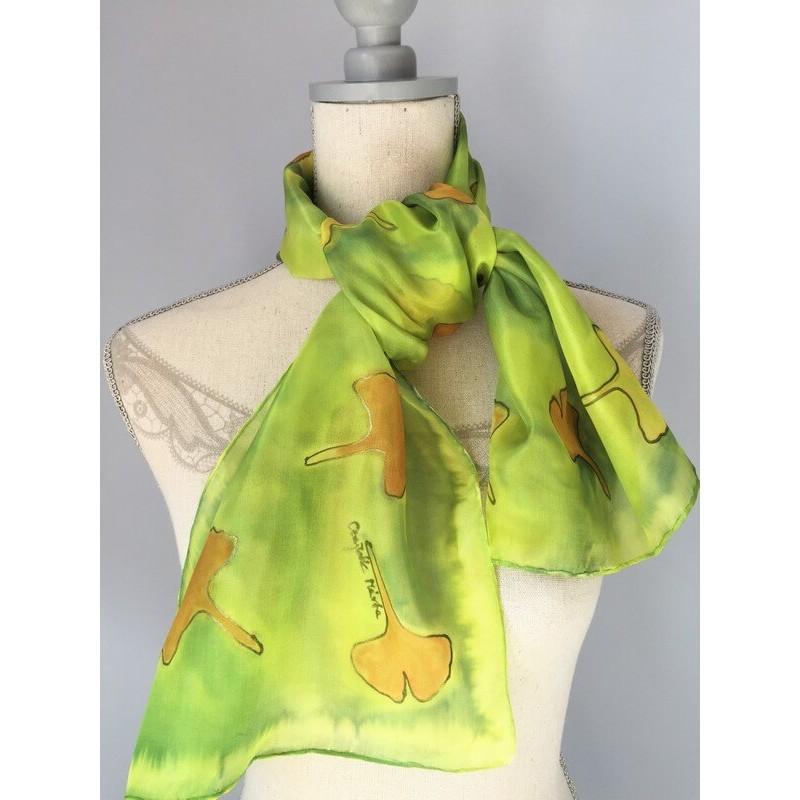 Zöldes árnyalatú, gingko leveles selyemsál, kicsi