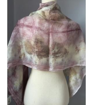 Lilás árnyalatú selyemsál, ecoprint