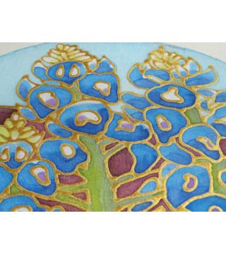Selyem ablakkép - Blue bonet virággal, 20 cm
