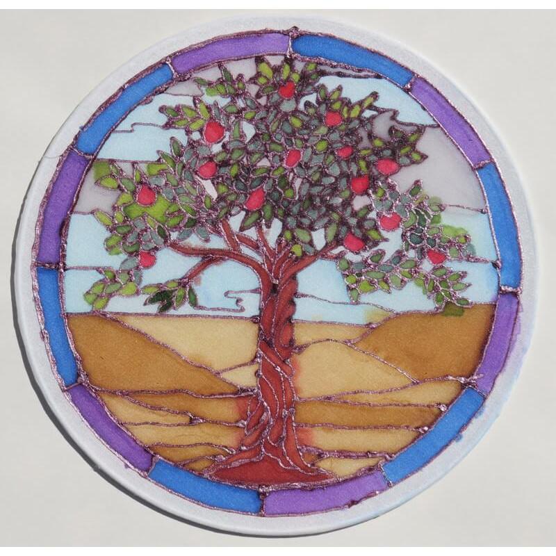 Selyem ablakkép - Almafa mintával, 20 cm