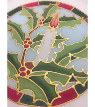 Selyem ablakkép-Karácsonyi dekoráció