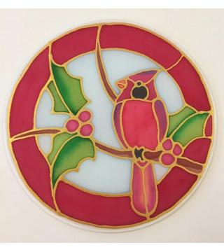 Selyem dekoráció, karácsonyi-Kardinális madárka