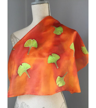 Őszi színvilágú, gingko leveles kendő-kicsi