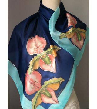 Selyemkendő orchidea virágokkal, kék, közepes