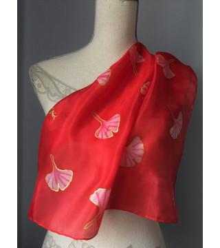 Piros, gingko leveles kendő-kicsi