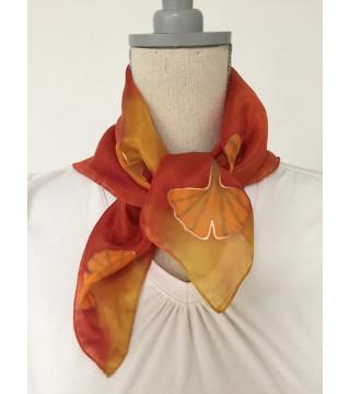 Selyemkendő gingko levelekkel, őszi színekkel, kicsi