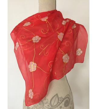 Piros kendő, rózsaszín virágokkal, kicsi