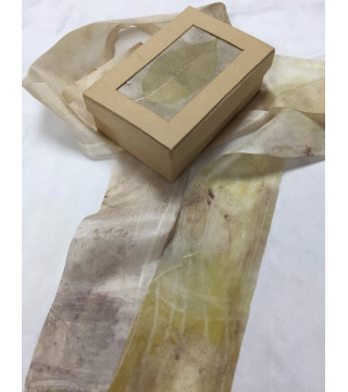 Növényi nyomatos csíksál dobozzal, ecoprint szett