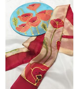 Pipacsos csíksál és pipacsos selyem dekoráció