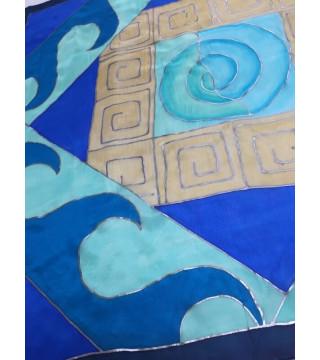 Görög mintás kendő mediterrán színekkel, közepes