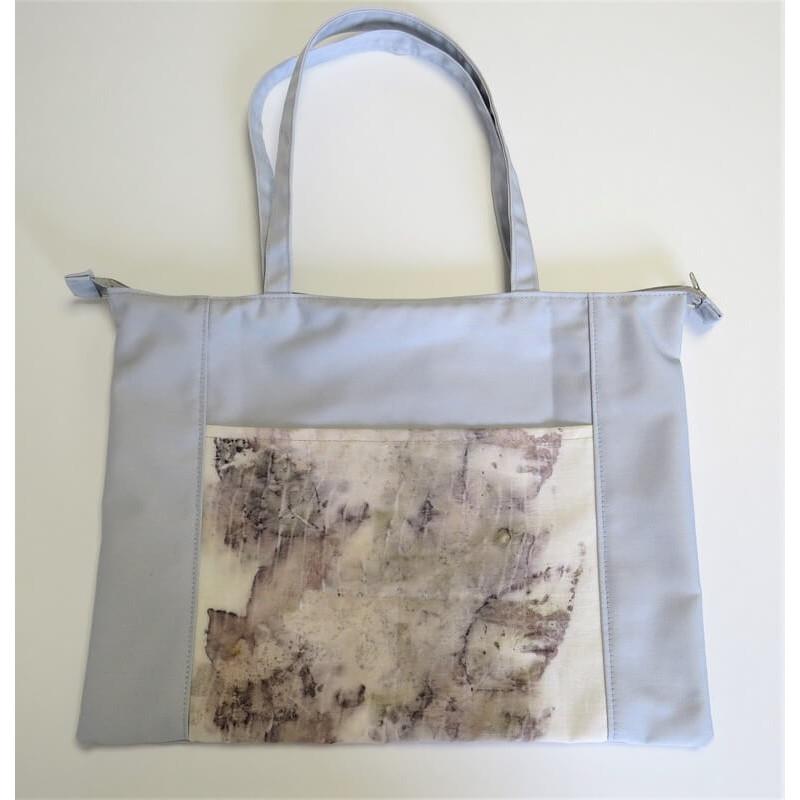 Világosszürke női táska, ecoprint